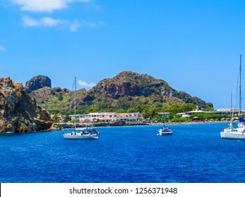 VULCANO, ITALY - JULY 16, 2014: View of the port of the volcanic island of Vulcano, Aeolian Islands.