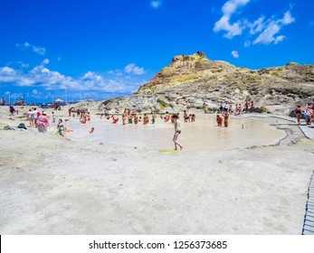 VULCANO, ITALY - JULY 16, 2014 - Unidentified people having a mud and sulfur bath on the volcanic island.