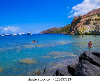VULCANO, ITALY - JULY 16, 2014: Unidentified people on the beach.