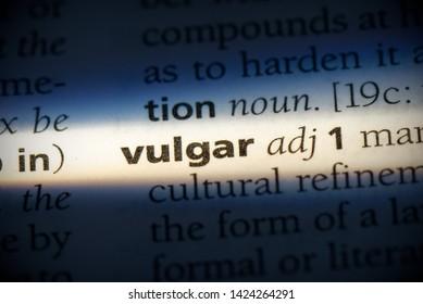 vulgar word in a dictionary. vulgar concept, definition.