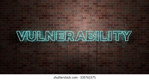 VULNERABILITY - fluorescent Neon tube Sign on brickwork - Front view - 3D rendered royalty free stock picture. Can be used for online banner ads and direct mailers.