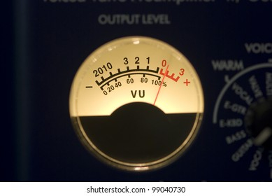 A vumeter moving its needle beyond 0dB because of a high level audio