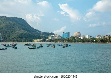Vung Tau City, Vietnam - August   2020: Vung Tau city aerial view. This is a famous coastal city in the South of Vietnam.