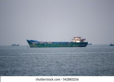 VUNG TAU, VIETNAM - DEC 25, 2016 - Containership in the Vung Tau sea, Vietnam