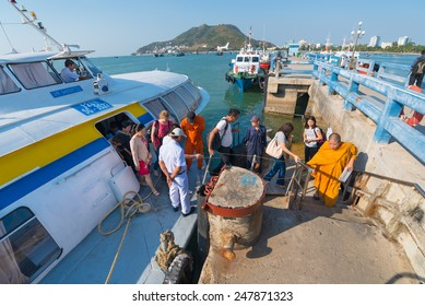 VUNGTAU, VIETNAM - JANUARY 15, 2015: A hydrofoil of the Vina Express transportation company moored at the Vungtau ferry station takes passengers off the board.