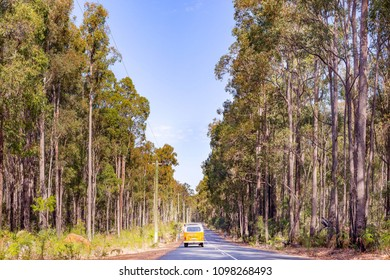 VW van travelling through the forests of Dwellingup National Park, Western Australia