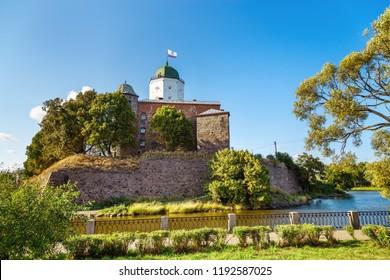 Vyborg Castle is historical landmark of City Vyborg, Leningrad Oblast, Russia. August 2018.
