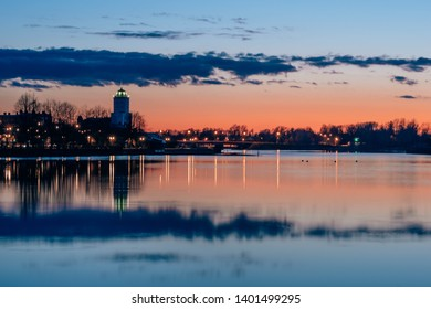 Vyborg Castle on the background of a beautiful sunset