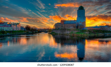 Vyborg castle at sunset