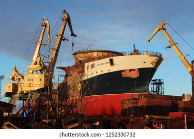 "Vyborg, Leningrad region / Russia - 12.05.2018 Preparations for the launch of the trawler-processor ""Barents Sea"" at the Vyborg Shipbuilding Plant. Ship on the stocks."