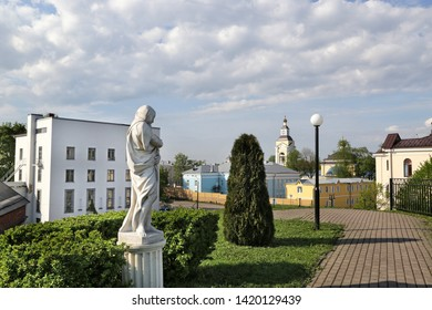Vyborg, Russia - 05/21/2019: View of the alley of sculptures near the Hermitage-Vyborg exhibition center.