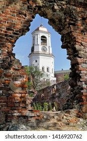 Vyborg, Russia - 05.21.2019: view of the Clock Tower from the ruins of the Cathedral.