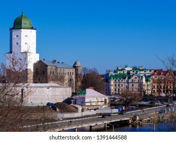 VYBORG, RUSSIA - 2019-04-03 : Medieval castle on the island. Vyborg. Russia