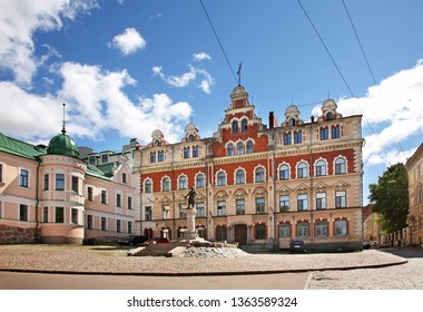 VYBORG. RUSSIA. 28 JUNE 2012 : Monument to Torkel Knutsson in front of townhouse in Vyborg. Russia