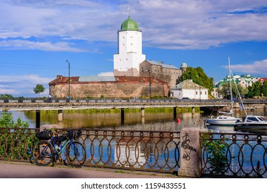 Vyborg, Russia - August 5, 2018: Sightseeing of Russia. Vyborg castle - medieval castle in Vyborg town, a popular architectural landmark
