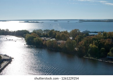 Vyborg, Russia. Vyborg Bay, view from St. Olaf's Tower in Vyborg Castle