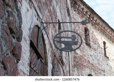 Vyborg, Russia. Blacksmith signboard in Vyborg Castle