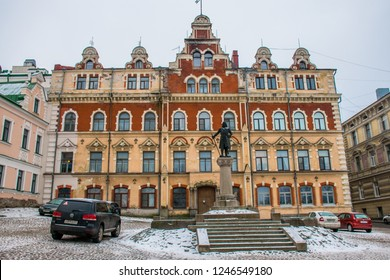 Vyborg / Russia - Jan 2018: The ancient statue of Torgils Knutsson founder of Vyborg in front of the Old Town Hall. Winter in Russia.