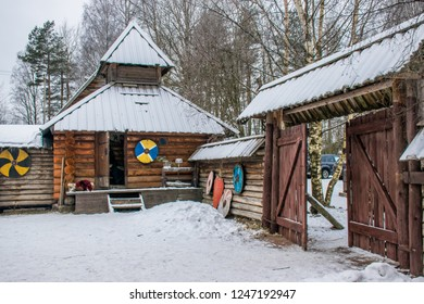 Vyborg / Russia - Jan 2018: The fortres of vikings in frozen forest. Open air museum near Vyborg. Winter in Russia.