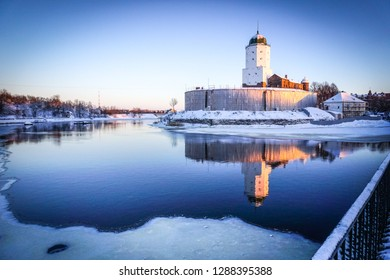 VYBORG, RUSSIA -  January 3, 2019: Old castle of Vyborg on a cold winter day