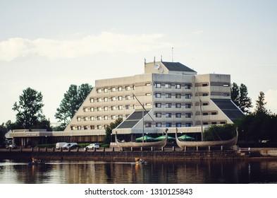 VYBORG, RUSSIA - July 12, 2018: Beautiful buildings. Architecture of the city of Vyborg, Leningrad region.