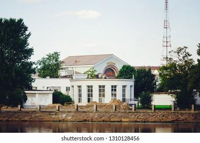 VYBORG, RUSSIA - July 12, 2018: The building of the railway station in Vyborg, Leningrad region.