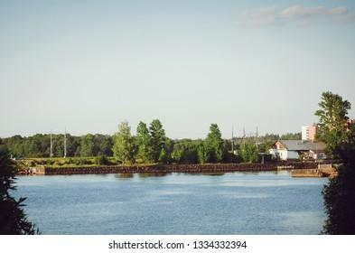 VYBORG, RUSSIA - July 12, 2018: Scenic view of the Vyborg gulf. Beautiful landscape.