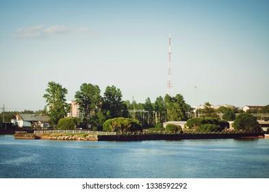 VYBORG, RUSSIA - July 12, 2018: Scenic view of the Vyborg gulf. Beautiful cityscape.
