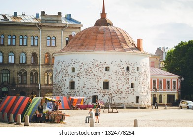 VYBORG, RUSSIA - July 12, 2018:Medieval fortress. Tourist attractions of Vyborg.