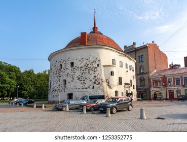 Vyborg, Russia - July 2018: Round Tower in center of Vyborg