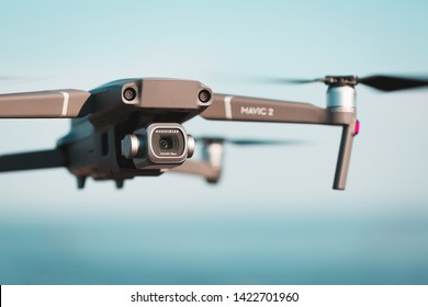 Vyborg, Russia - June 10, 2019 : Dji Mavic 2 pro flies in the air. Object in focus.