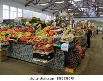 VYBORG RUSSIA, MAR 2019 :beauty and delicious russian and finland fruits show at shelf of Market building, local fresh food market in Vyborg.