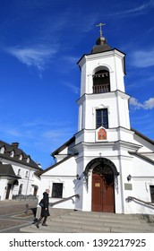 "VYBORG RUSSIA, MAR 2019 : Peaple come to Orthodox church  ""Khram Sv. Proroka Bozhiya Ilii""  at Vyborg, Leningradskaya oblast, Russia."