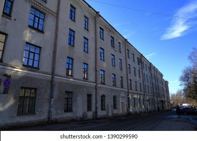 VYBORG RUSSIA, MAR 2019 : Traditional old buildings in middle town of vyborg.