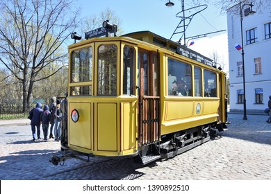 VYBORG, RUSSIA – MAY 07, 2018: Tramway Monument with a fare dodger boy, Vyborg, Russia