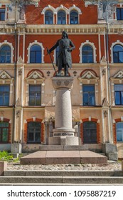 VYBORG / RUSSIA - MAY 2015: Monument to the founder of Vyborg, Torgis Knutsson; Russia