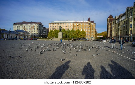 Vyborg, Russia - Oct 6, 2016. City square in Vyborg, Russia. Vyborg stands at the head of Vyborg Bay of the Gulf of Finland, 113 km northwest of St. Petersburg.