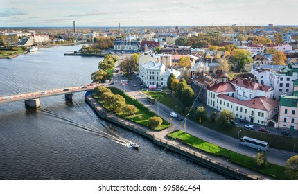 Vyborg, Russia - Oct 6, 2016. Buildings with canal in Vyborg, Russia. With its cobblestoned streets and medieval castle, Vyborg makes the perfect day trip from St Petersburg.