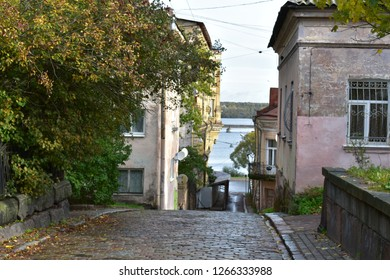 Vyborg Russia October 2018  Narrow street to the Vyborg bay. Russia