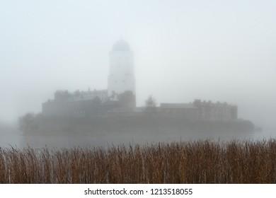 Vyborg, Russia - October 21, 2018: Vyborg Castle in the morning fog