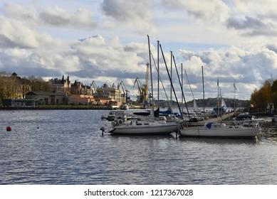 VYBORG, RUSSIA - OKTOBER 21, 2018: Vyborg yacht club.
