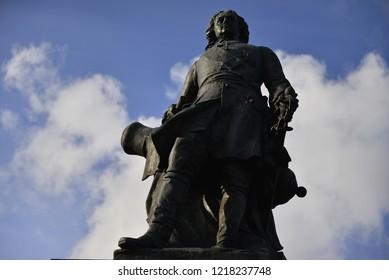 VYBORG, RUSSIA - OKTOBER 21, 2018: Monument to Peter I (Vyborg).