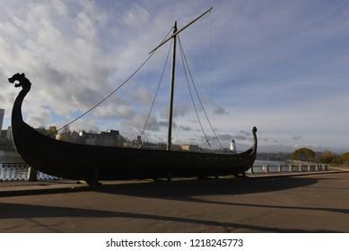 VYBORG, RUSSIA - OKTOBER 21, 2018: The boat on a lake coast in Vyborg.