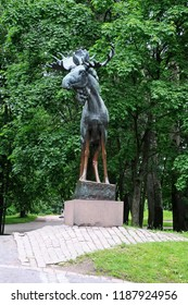 Vyborg, Russia - Sept 5, 2018: Bronze figure Elk is considered one of the best monuments of Park sculpture in Vyborg. Iinstalled in Vyborg in 1928. Sculptor Jussi Mantynen (1886-1978)