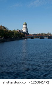Vyborg, Russia. St. Olaf's Tower in Vyborg Castle and Peters bridge before it