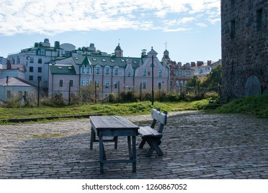 Vyborg, Russia. Table and bench in Vyborg Castle