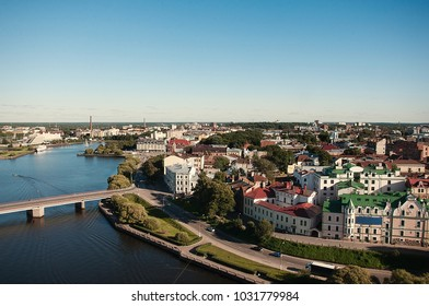 VYBORG, RUSSIA View of Vyborg Township with the river. Vyborg stands at the head of Vyborg Bay of the Gulf of Finland, 113 km northwest of St. Petersburg.