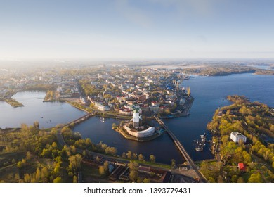 Vyborg to see from a height sunrise