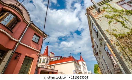 Vyborg street, old Finland house in the Vyborg town.Vyborg, Russia 18 may 2018