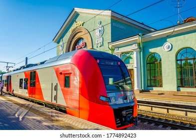 Vyborg.Russia.June 25, 2020.The Lastochka train at the railway station in Vyborg.
